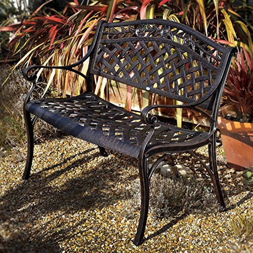 Lazy Susan Rose Metal Garden Bench, 2-Seater in Antique Bronze , Weatherproof Aluminium Garden Bench   Garden   Cast aluminium   Rust Proof   Easy Assembly   For All Weather Conditions, 103x60x85, 12 Month Warranty
