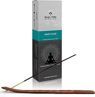 Sponsored Ad - Simply Vedic White Sage Premium Incense Stick Agarbatti 250 Grams / 8.8 Oz (Approx 135 Sticks) with Burner ...