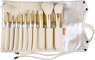 ZOREYA Makeup Brushes 10pc Gold- Premium Quality Non Animal Cruelty Cosmetic Makeup Brush Set with Vegan Leather Make up Organizer Storage Brush Holder Case