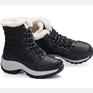 SUQIAOQIAO Women Boots Waterproof Winter Shoes Women Snow Boots Platform Keep Warm Ankle Winter Boots with Thick Fur Heels Boots