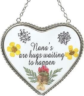 Stained Glass Suncatcher For Windows Nana`s Heart Nana`s Suncatcher with Pressed Flower Heart - Heart Suncatcher - Nana`s Gifts Gift for Nana's Day (4.54.5)