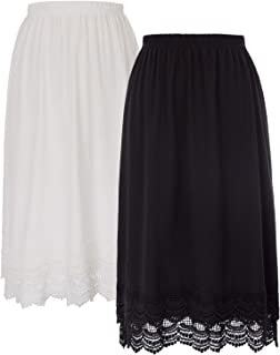 Knee Length Underskirt Double Lace Skirt Extender Half Slip