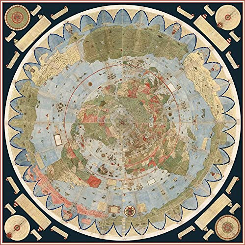 BLESS LINEN 1587 Flat Earth Map of The World Urbano Monte Historic Wall Poster Globe Model, 16x16 (40x40cm)