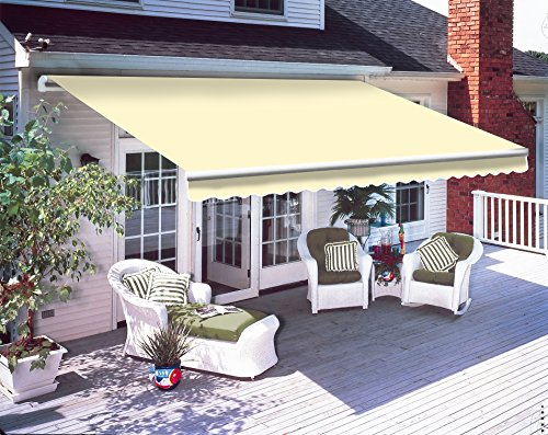Greenbay 3 x 2.5m DIY Patio Retractable Manual Awning Garden Sun Shade Canopy Gazebo Cream with Fittings and Crank Handle