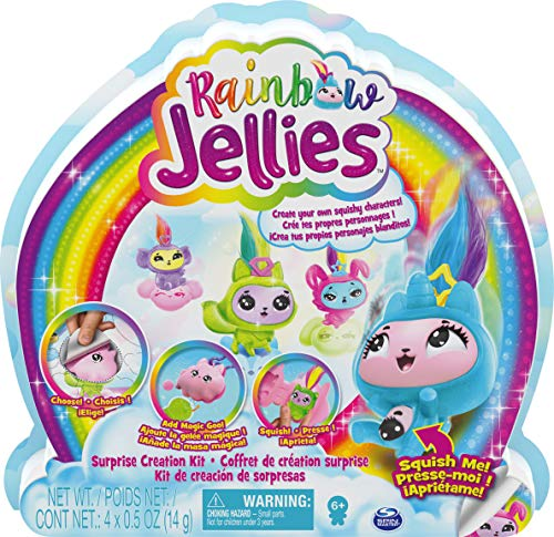 Rainbow Jellies 6056248 Creation Kit with 25 Surprises to Make Your Own Squishy Characters, for Kids Aged 6 and Up, Grey
