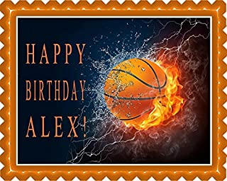 Basketball Fire - Edible Cake Topper - 10