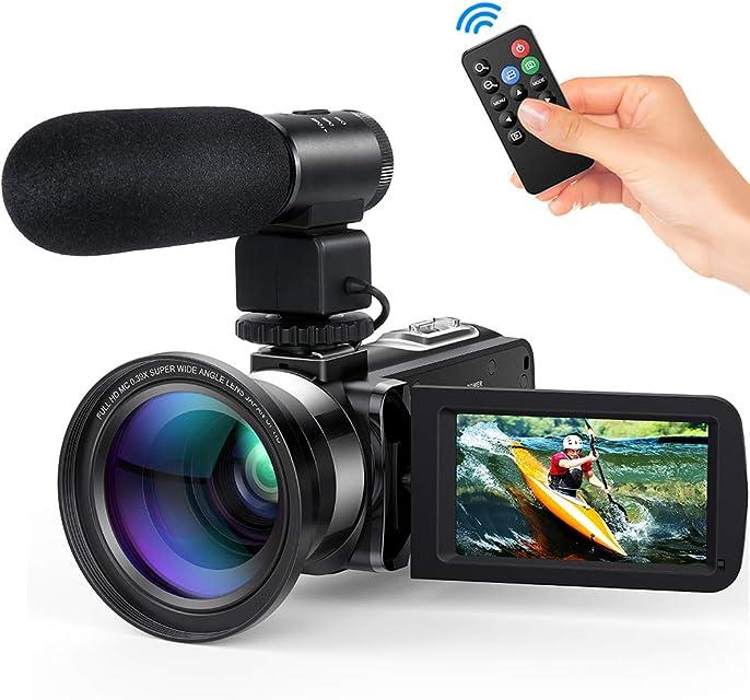 Videocamara Digital Andoer Portátil Cámara de Video Digital 1920 * 1080P HD Pantalla 3.0 IPS 24MP 16X Zoom DigitalRotación de 270° con Control Remot Apoyo Noche de Infrarrojos Disparar