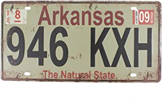 6x12 Inches Vintage Feel Rustic Home,bathroom and Bar Wall Decor Car Vehicle License Plate Souvenir Metal Tin Sign Plaque (Arkansas The Natural State)