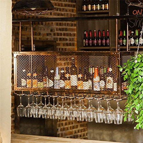 Etagère à bouteille Loft Étagère Murale En Fer Grille Plafond Support De Stockage Casiers à Vin Suspendus Bouteille De Vin et Lunettes Titulaire Cadre 2-Tier Wine Stemware Titulaire Goblets Rack