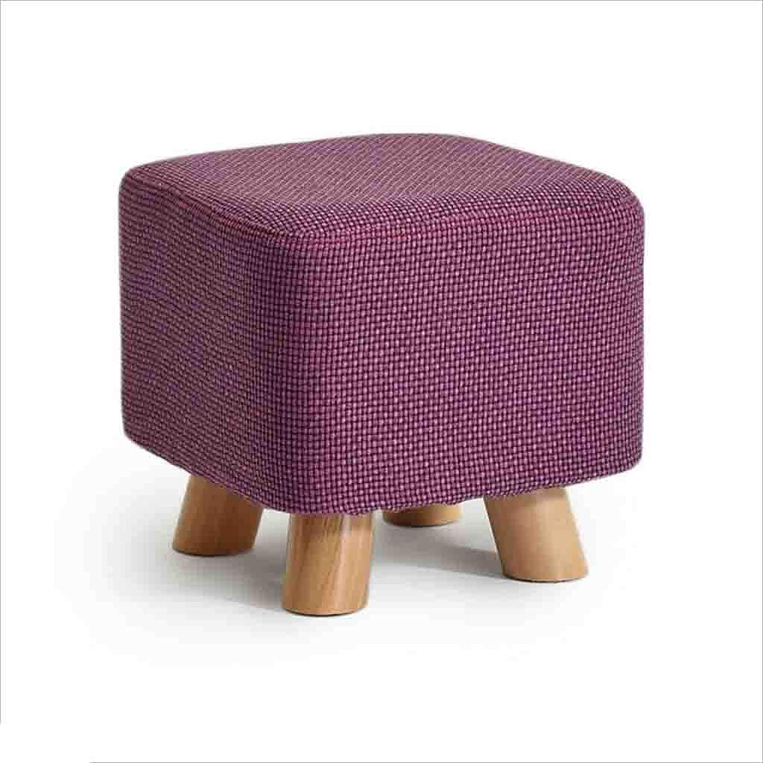 QZ HOME Stool Solid Wood Frame Natural Cotton Quadrilateral Monochrome Stool Can Wash Household Sofa Stool (color   Green)