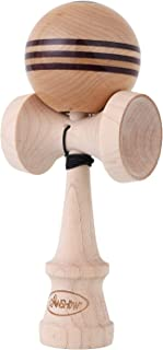 CANSHOW Kendama, Stripe Design Pro kendamas Maple Wood with Purple Heart Wood Line with Sticky Paint Tama , Extra String Accessory Bundle …
