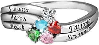 Quiges 925 Sterling Silver Mothers Birthstone Custom Personalised Engraved Name 5 Hearts Bands Ring