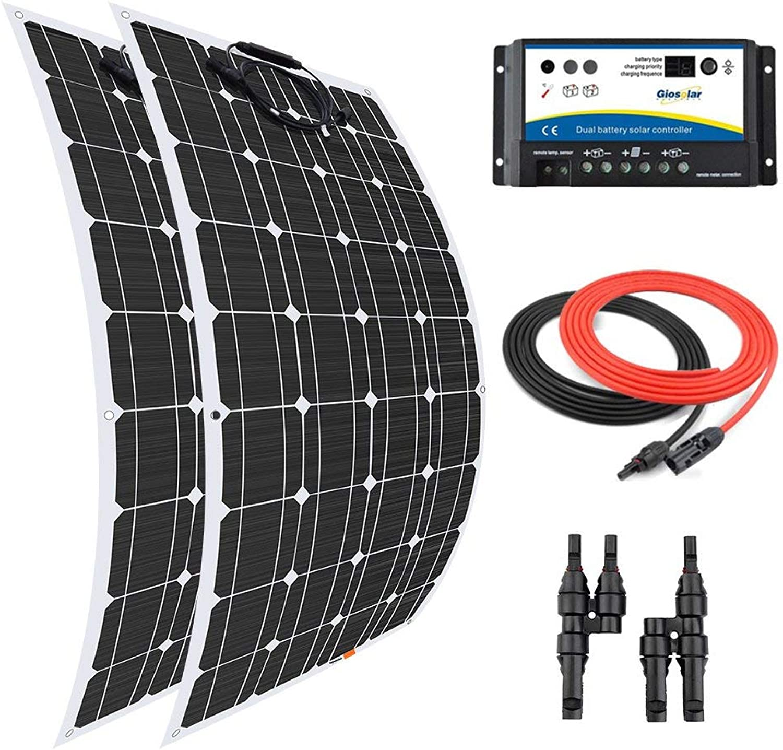 Giosolar Solar Panel 200 Watt 12 Volt Flexible Solar Panel Kit Battery Charger Monocrystalline with 20A PWM Dual Battery Solar Charging Kit for Boat Caravan OffGrid