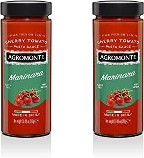 Agromonte Authentic Italian Cherry Tomato Pasta Sauce (Marinara)- Taste of Italy Gourmet Foodie and Chef Gift - Certified Kosher, Gluten-Free, All Natural, non-GMO, No Added Sugar 20.46oz (2 pack)
