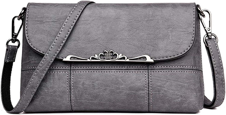 Cdnb Umhängetasche Umhängetasche Umhängetasche Handtasche Sommer große Kapazität weibliche Handtasche Umschlag Tasche einfarbig weichen Leder Umhängetasche, grau B07J18MQSM 3708a8