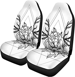 Pinbeam Car Seat Covers Blackwork Tattoo Flash Peony Flower Deer Antlers White Mystic Set of 2 Auto Accessories Protectors Car Decor Universal Fit for Car Truck SUV