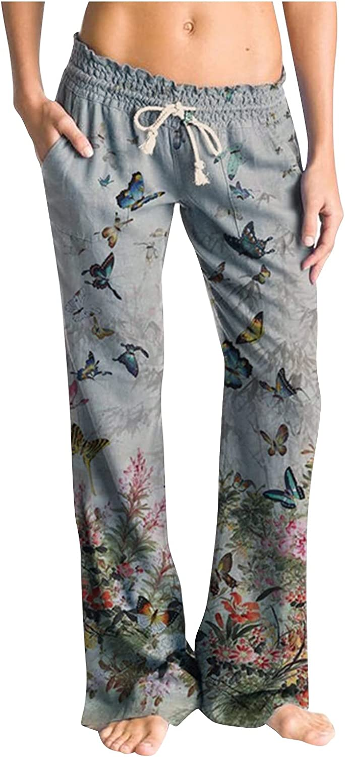 Lincox Womens Print Wide Leg Pants Casual Elastic Band Drawstring Sweatpants Loose Fit Trousers Comfy Workout Fitness Trouser