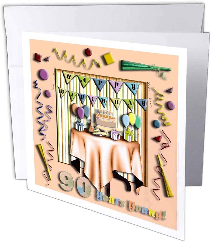 3dRosa 3dRosa 3dRosa gc_31011_2 Grußkarte Birthday Room in Peach Happy Birthday 90 Years Young , 15,2 x 15,2 cm, 12 Stück B07B43H73N | Luxus  | Angenehmes Aussehen  | Umweltfreundlich  568c74