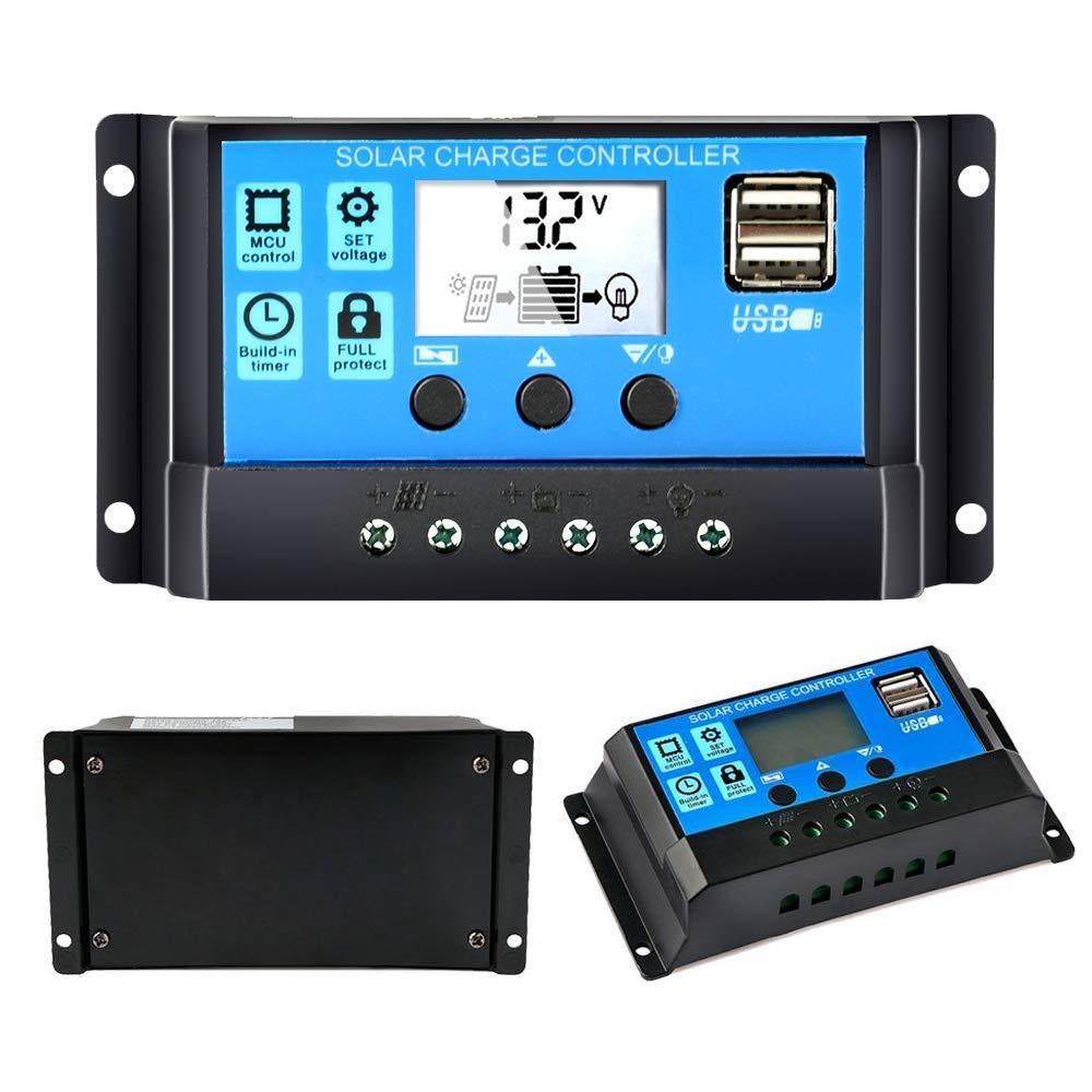 Y&H 30 A 12 V 24 V regulador de carga solar automático controlador PWM LCD Dual USB 5 V salida panel solar regulador fotovoltaico