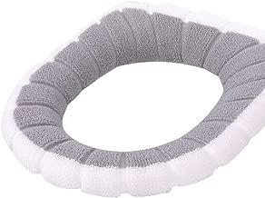 Toilet Cushion,Warm Soft Washable Bathroom Toilet Seat Cover Fiber Closestool Mat Home Decor - White + Grey