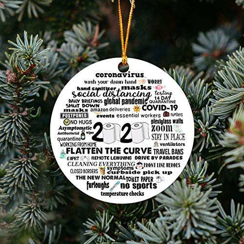 Lplpol 2020 Corona Ornament Christmas Ornament Things to Do During Coronavirus Outbreak Funny Ornament Gift | Round Ceramic Porcelain Ornament | Xmas Tree Hanging Keepsake Pendant | MBS84