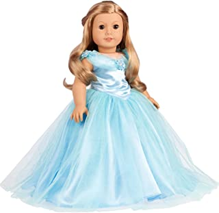 DreamWorld Collections - Cinderella - 3 Piece Outfit - Blue Gown, Petticoat, Silver Slippers - Clothes Fits 18 Inch American Girl Doll (Doll Not Included)