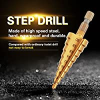 マルチホールステップアップビットステップドリルビット、ステップドリルビットセットスチールステップドリルハイススチールドリルビットステップドリル、切削用(4-20mm)