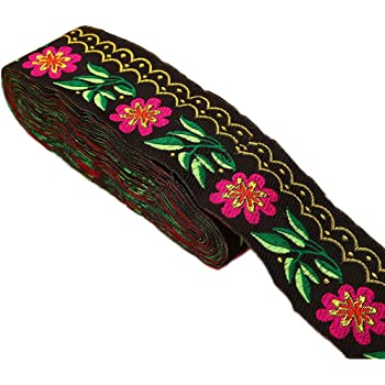 Art Deco Floral Jacquard Ribbon Trim 5//8 2 Colors to Choose from