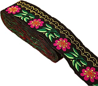 7 Yards 2inch Daisy Leaves on Waves Jacquard Ribbon Floral Embroidered Woven Trim for Embellishment Craft Supplies(Black)