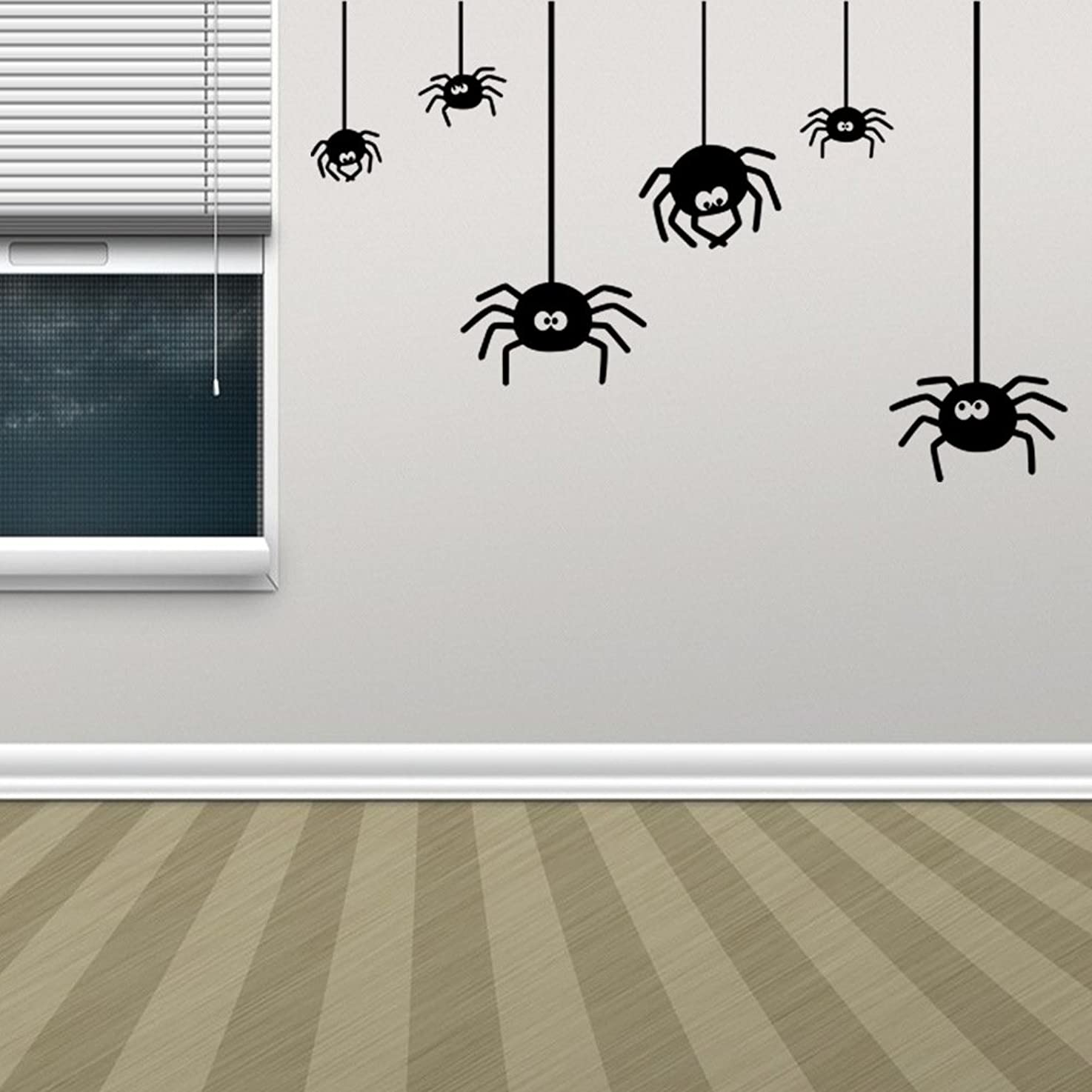 BIBITIME Halloween Wall Art Spider Decal for Wall Sticker for Living Room Porch Bedroom Nursery Kids Room Decor Shop Showcase Display Window DIY (Small size)
