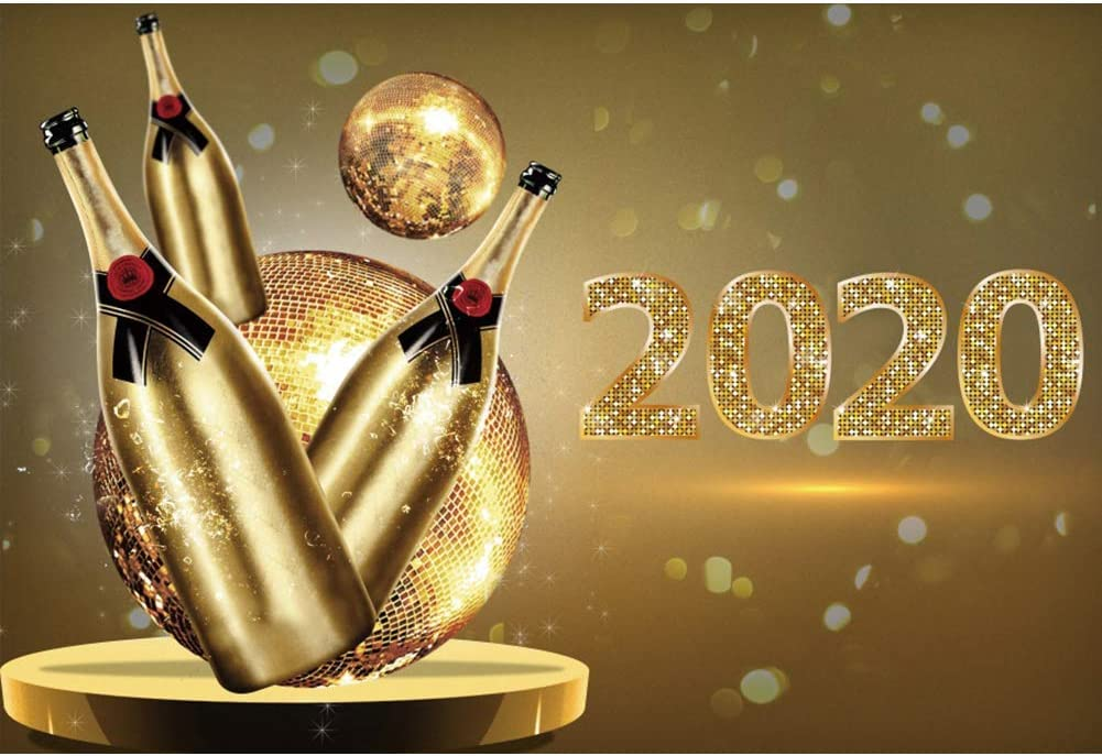 Happy New Year 2020 Vinyl Photography Background 5x3ft Golden Bokeh Halos Backdrop Holiday Lights Carnival Party Celebrate Dancing Ball Holiday Xmas Family Baby Portrait Shoot Decor