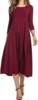 Long Pleated Dress Autumn Casual 3/4 Solid Dresses Wedding Party Plus Swing Dress New Clothes