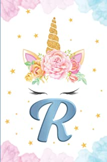 Monogram Initial Notebook Letter R: Cute Unicorn Journal and sketchbook for Kids Initial Notebook R Personalized Writing B...
