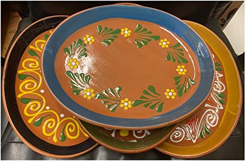 """high quality Made in Mexico 11x8"""" sale Mexican Grande Dinner or Salad Clay discount Barro Ovalado Oval Plates Set of 4 online sale"""