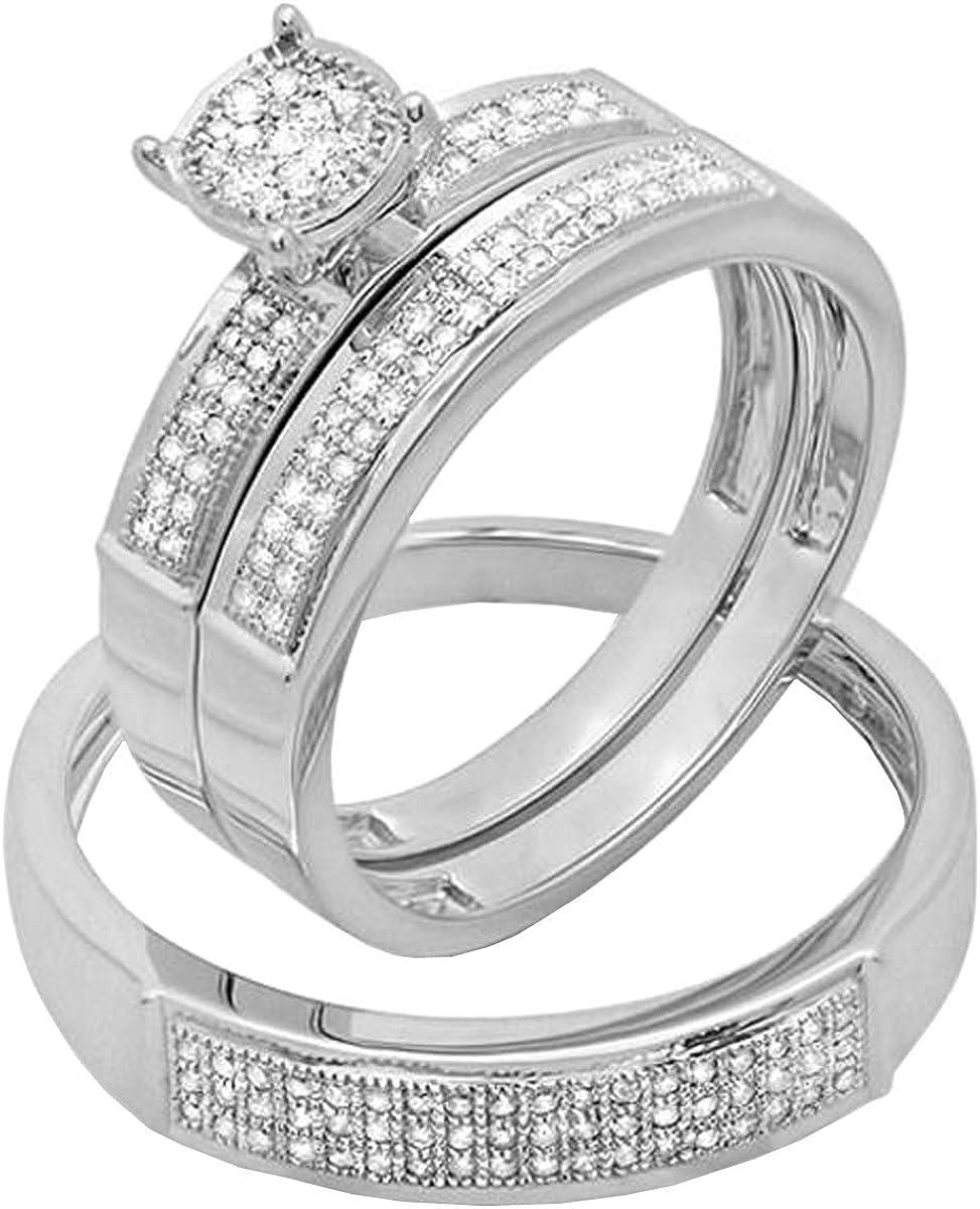 Dazzlingrock Collection 0.33 Carat (ctw) 10K Round White Diamond Men & Women's Micro Pave Engagement Ring Trio Bridal Set 1/3 CT, White Gold