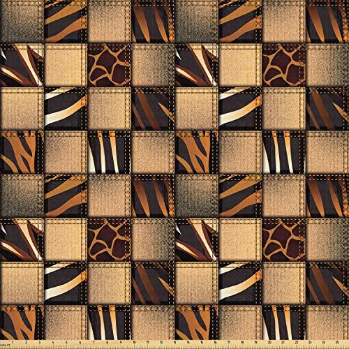 ABAKUHAUS Safari Stof per strekkende meter, Jeans Denim Patchwork, Stretch Gebreide Stof voor Kleding Naaien en Kunstnijverheid, 2 m, Brown en Black