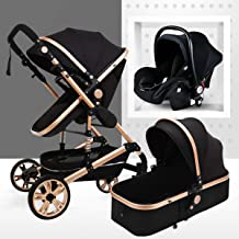 Travel System Infant Carriage Portable Baby Stroller 3 in 1 Infant Pram with Shock-Resistant Pushchair for Newborn and Toddler Foldable Anti-Shock High View Carriage (3 In1,Black)