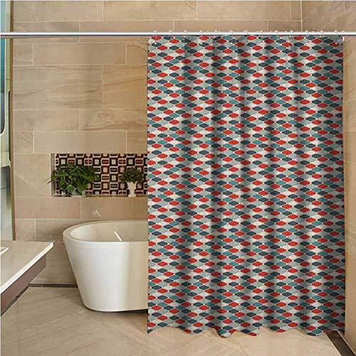 N\A Kleines Duschvorhang-Retro-Muster des Mosaiks mit geometrischem Design Altmodische achteckige Fliese im Gitterstil Mehrfarbig