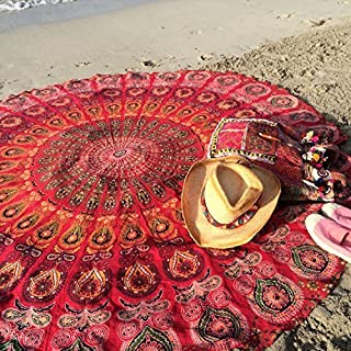 Popular Round Tapestry Indian Mandala Round Roundie Beach Throw Tapestry Wall Hanging Hippy Boho Gypsy Cotton Tablecloth, Round Yoga-Picnic Sheet 70