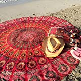 Popular Round tapestry Indian Mandala Round Roundie Beach Throw Tapestry Wall Hanging Hippy Boho Gypsy Cotton Tablecloth, Round Yoga-Picnic sheet 70' Red