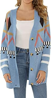 Bravetoshop Women's Open Front Long Sleeve Coat Patchwork Printed Loose Knit Chunky Button Cardigan Sweater