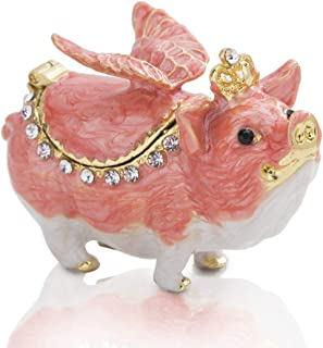 YU FENG Animal Figurine Jewelry Trinket Box Cute Pig with Wings Animal Statue Crystal Bejewelled Box