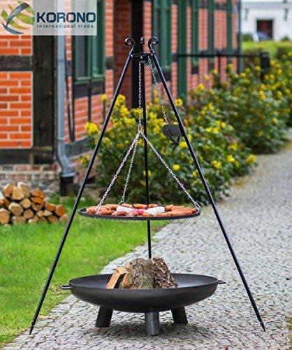 Korono 2 in 1 zwenk grill driepoot 180cm rooster 70cm & vuurschaal 80cm met gat - tuinvuur & mobiele barbecue
