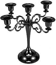 Bluelliant Candelabro de Mesa Negro Cinco Brazos para 5 Velas Antiguo Nordico Vintage Decoración Metal Decorativo