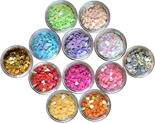 Nail Glitter 12 Boxes Nail Art Flakes Hexagon Confetti Festival Glitter Colorful Chunky Glitters for Hair Face and Eye Make Up Foil Flakes (12Colors,Heart-shaped)