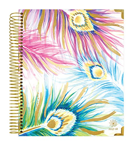 "bloom daily planners 2017-18 Academic Year Hard Cover Vision Planner - Monthly and Weekly Column Calendar View Planner - (August 2017 - July 2018) Peacock Feathers - 7.5"" x 9"""