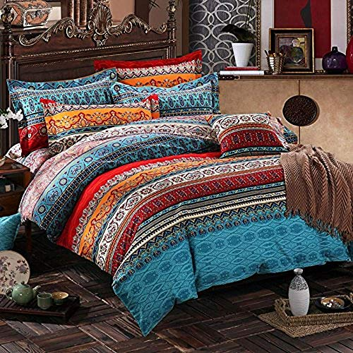 Omelas Bohemian King Duvet Cover Set Colorful Floral Boho Striped Bedding Collection Super Soft Brushed Microfiber Duvets Cover Southwestern Indian Tribal Reversible Bedding Set (WCF,K,3pcs)