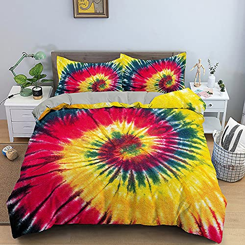 Abstract Art Duvet Cover 3D Color Tie-Dye Yellow Luxury Quilt Cover Home Textiles Bedding Set Single Double Queen King Size Soft Set for Girl Boy Teens Adult,King