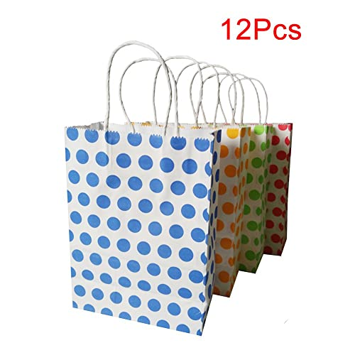 Paper Party Bags With Handles Medium Coloured Dot Gift For Birthday Wedding