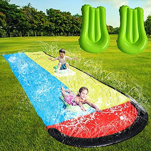 Faffooz Scivolo Acqua, Diapositiva ad Acqua, Scivolo a Getto D'acqua di 4,8 m, Doppio Scivolo Acqua da Giardino con 2 Cuscini Gonfiabili Adatto per Adulti, Bambini